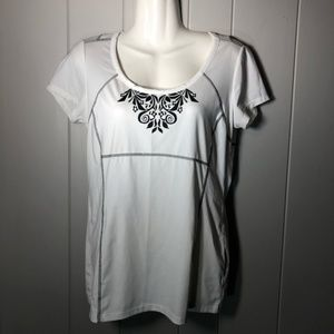 Athleta Pacifica White Patterned T-shirt